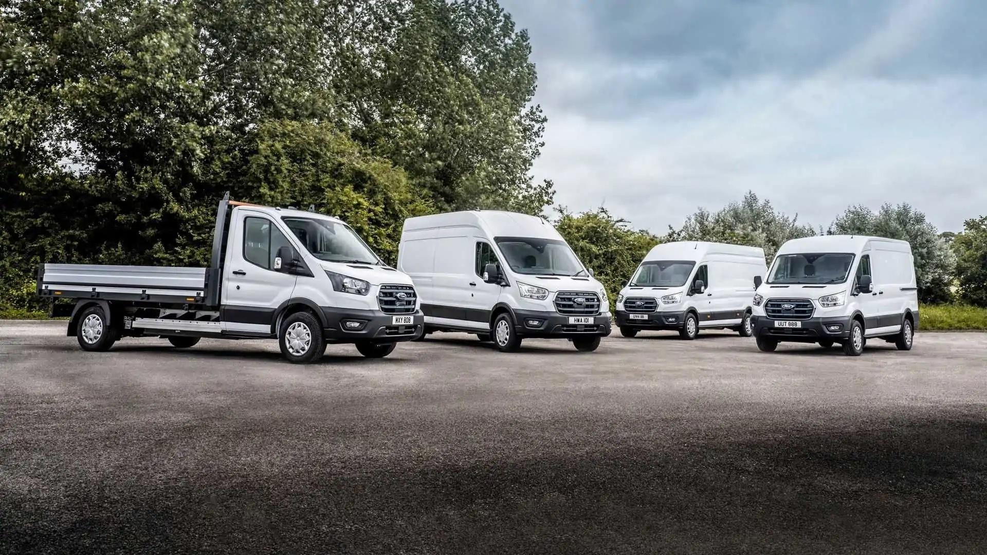Ford E-Transit Vans Lined Up