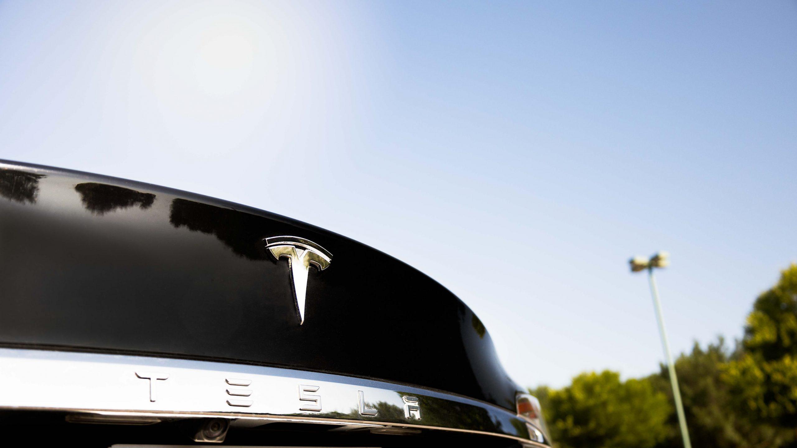 Tesla Logo Close Up