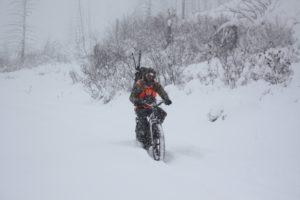 Electric Mountain Bike In Snow